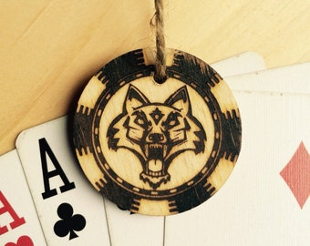 Poker chip gift tag wolf design - poker night party favor or gift tag