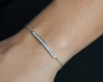 Skinny Pave CZ Bar Bracelet in Sterling Silver or 16k gold plated - Simple everyday modern bar bracelet