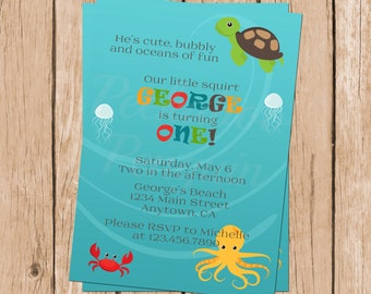 Ocean First Birthday Invitation, Under The Sea Party Invites, Sea Animals Invitations, 1st Birthday Invites, Printable Kids Birthday Invite