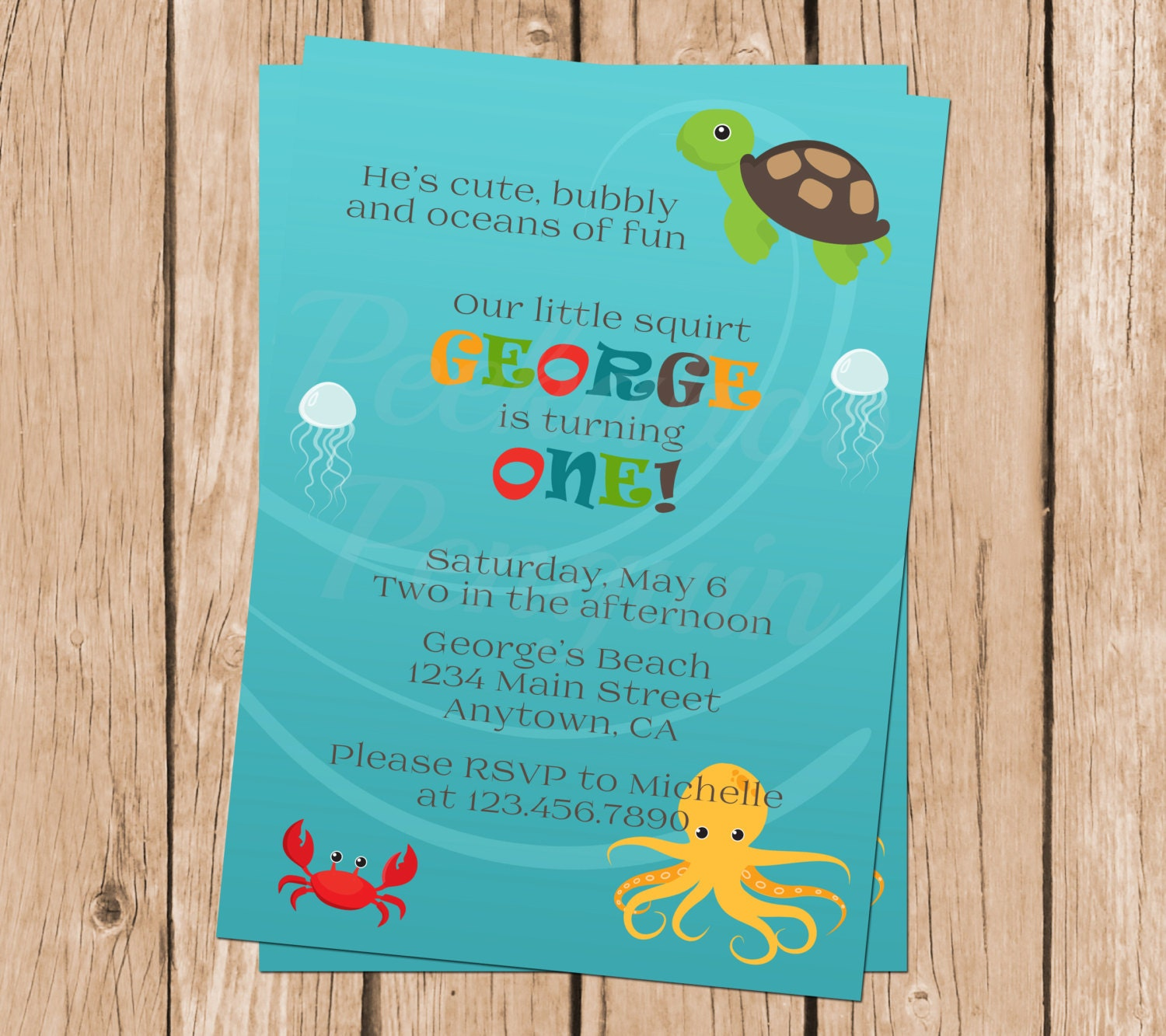 Ocean First Birthday Invitation Under The Sea Party Invites