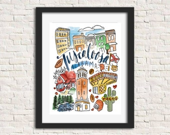 Tuscaloosa City Illustration Wall Art Print 8 x 10