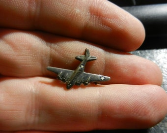 Small Detailed Sterling and Enamel WW2 American Bomber Pin