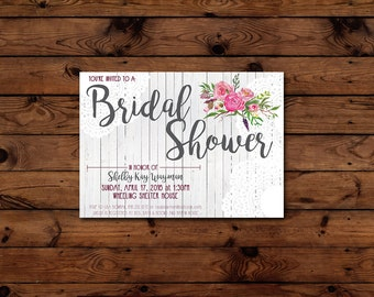Printable Rustic Vintage Bridal Shower Invitation - 5 x 7