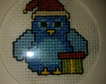Cross stitch blue penguin/bird Christmas card
