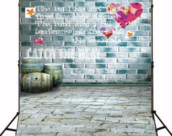 Retro Brick Wall Brick Floor Background Backdrop Graffiti Wall  Photography Backdrops N10408
