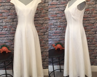 Vintage Stunning White Linen A-Line Maxi Dress  Size 6