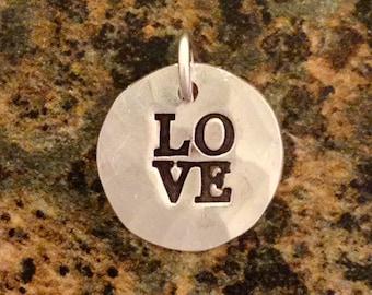 Love Pendant, PMC Fine Silver