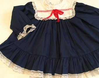 Vintage Girl's Navy Blue Bryan Dress with White Collar Red Ribbon Swing Top Patriotic 3 4