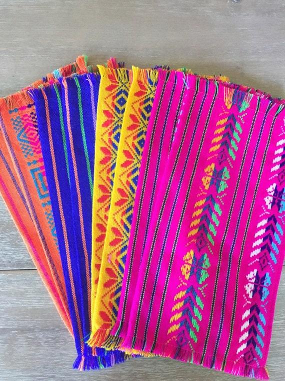Mexican Napkins Bulk Set Of 6 Assorted Colors Fiesta Decor