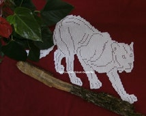 Doily cat or Panther white cotton crochet lace, room patchwork or customization.