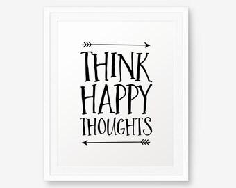 Peter Pan Nursery art, Think Happy Thoughts, Nursery Wall Art, Children decor, Inspirational Art Print