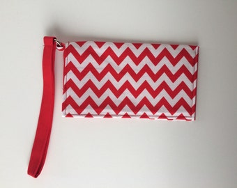 Red chevron wristlet