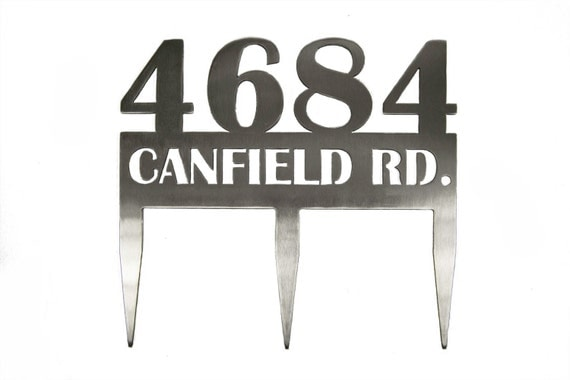 Custom Stainless Steel Address Sign with Stakes