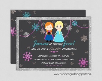 Frozen Princess Birthday Party Invitation 2, Elsa & Anna, Olaf, Kristoff and Sven Customized, Digital File