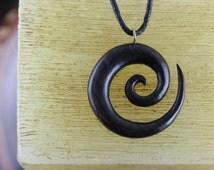 Spiral Necklace - yoga meditation necklaces - wood surfer necklace - sono wood carved - spiral necklace - W38