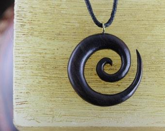 Spiral Necklace - yoga meditation necklaces - wood surfer necklace - sono wood carved - spiral necklace - W038