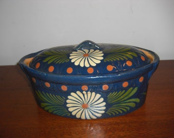 1950's Soufflenheim French Blue Pottery Lidded Casserole