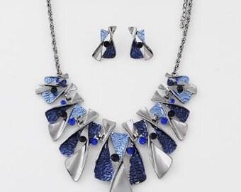 Statement Necklace, Enamel Necklace, Black Necklace, Blue Necklace, Crystal Fashion Necklace, Fashion Jewelry, Gift