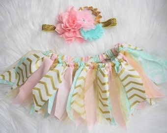 Pink, gold, and mint fabric scrap tutu with matching headband