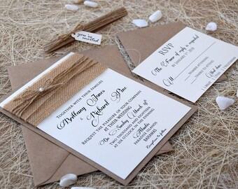 Simple Wedding Invitation, Burlap Wedding Invite, Custom Invitations, Rustic Wedding Invite, Personalized Wedding Invitation - SAMPLE