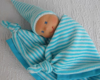 Waldorf inspired baby lovey for newborn boy, Personalized security blanket in blue, Handmade baby shower gift for baby boy, First doll