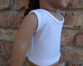 Handmade white tank top for 18 inch doll, knit sleeveless shirt, white shirt
