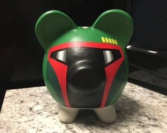 Boba Fett Star Wars Bounty Hunter Hand Painted Ceramic Piggy Bank Medium