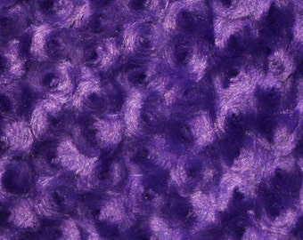 "Swirl Rose Bud Fluff Minky Fur Fabric - Sold By The Yard - 58""/ 60"" - Purple"