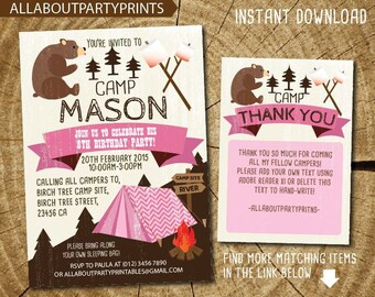 Instant Downloading-Camping Birthday party Invitation Printable -FREE thank you card-PDF format-digital file