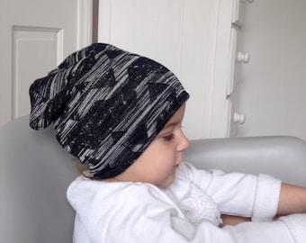 Baby beanie hat / black modern toddler beanie / kids beanie /  slouchy beanie / hipster baby / Modern baby hat