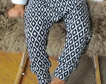 baby harem pants / diamond pattern harem pants / toddler harem / kids harem / jersey harem - skinny leg style