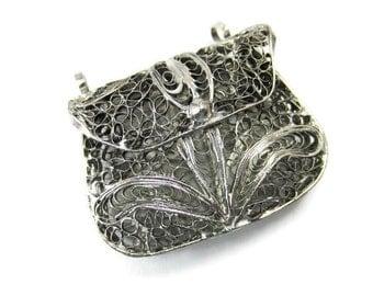 Filigree purse pendant, Silver filigree pendant, Handbag pendant, Jewelry supplies