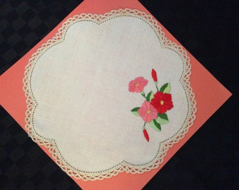 Hand Embroidered Doylie.