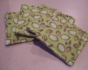 Handmade Coasters Set of 4 Apple Green with Leaves