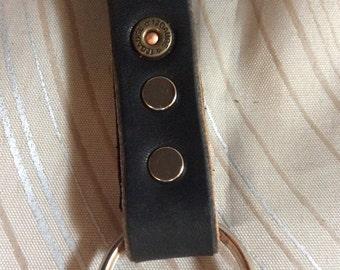 "12-gauge,gun,belt key chain,5-1/2""leather key fob, leather key chain, Latigo key fob, black leather key fob, leather keychain, key fob, belt"