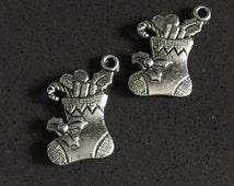 2 pc Christmas Stocking Charms 11mm Zinc Metal Alloy. Charm Bracelet. Floating Charms. Charm Necklace. Pandora Charms