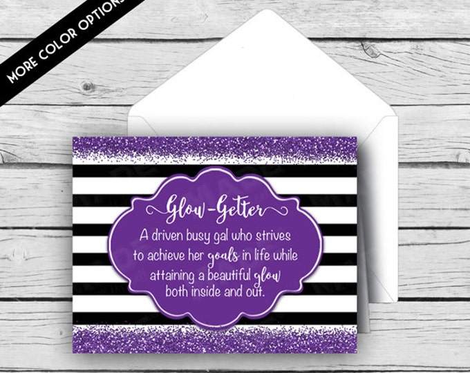 GLOW GETTER -A driven busy gal who strives to achieve her goals in life while attaining a beautiful glow both inside and out Note Card Set