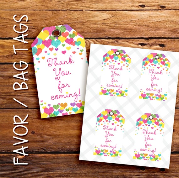 Rainbow Hearts favor tags, gift tags, thank you tags. Printable. Instant Download.