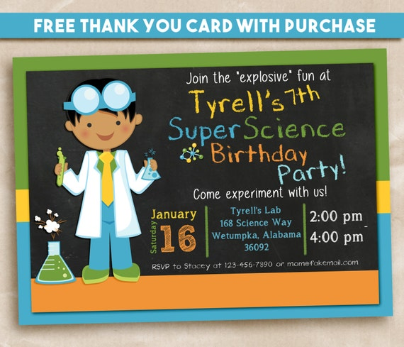 Science Party Invitation. Scientist Boy 5x7. FREE THANK YOU Card!
