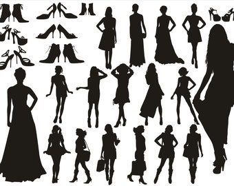 Model Silhouettes Clipart, Female silhouettes clipart, High Heels Silhouettes Clip Art, Female Clipart, Female And High Heels SVG, SVG File