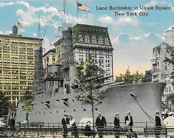 Land Battleship in Union Square, New York City, Antique Used 1910 Full Color Postcard