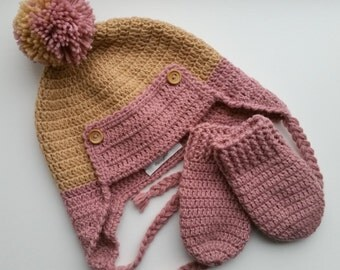 SALE! Crochet set Earflap hat mittens Aviator hat mittens Caramel Dusty rose Baby Wool Toddler size 2 Size 18-24 month Ready to ship