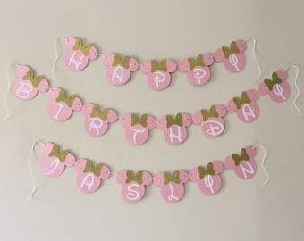 Pink and Gold  Minnie Mouse Banner Baby's 1st Birthday Decor Minnie Mouse Party Decor Birthday Banner Cake Smash Decor Cake Smash Props