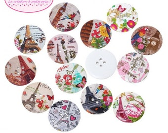 50 buttons round landscapes and Monuments 3cm