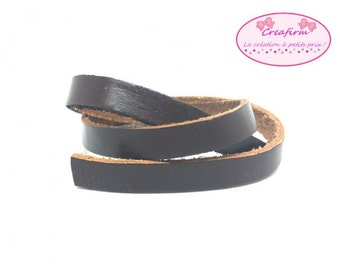2 m cord leather flat 10mm dark brown