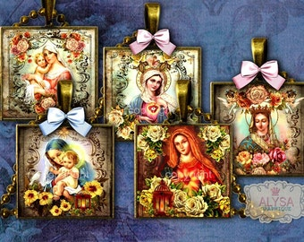 """VIRGIN MARY, religious jewelry, 2x2"""", 1,5"""" square Images, digital images + Gigt Tags Digital Collage Sheet - Square Pendant, Square Cabochon"""