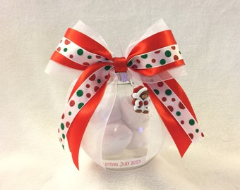Christmas Pregnancy Announcement Ornament with Floating Baby Booties - Beary Cute Bear with JOY Letters