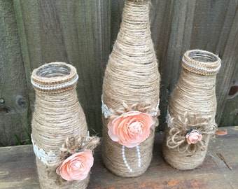 Rustic twine wrapped centerpieces Rustic Bridal shower Wine bottle decor Peach decor Rustic country wedding centerpiece Rustic twine bottles