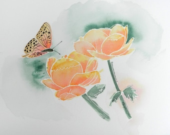 Butterfly and Flowers, Pink-orange, Original 9x12 Watercolor Painting