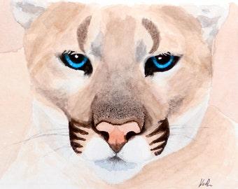 Original 6x6 Watercolor Painting - Cougar Portrait